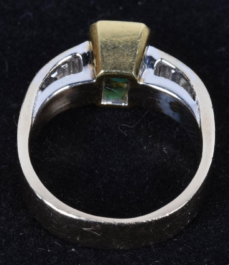14kt GOLD EMERALD AND DIAMOND RING - 2