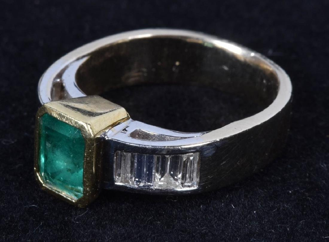 14kt GOLD EMERALD AND DIAMOND RING - 4