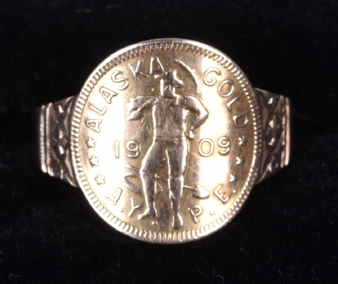 1909 ALASKAN 1 DWT GOLD RUSH COIN RING