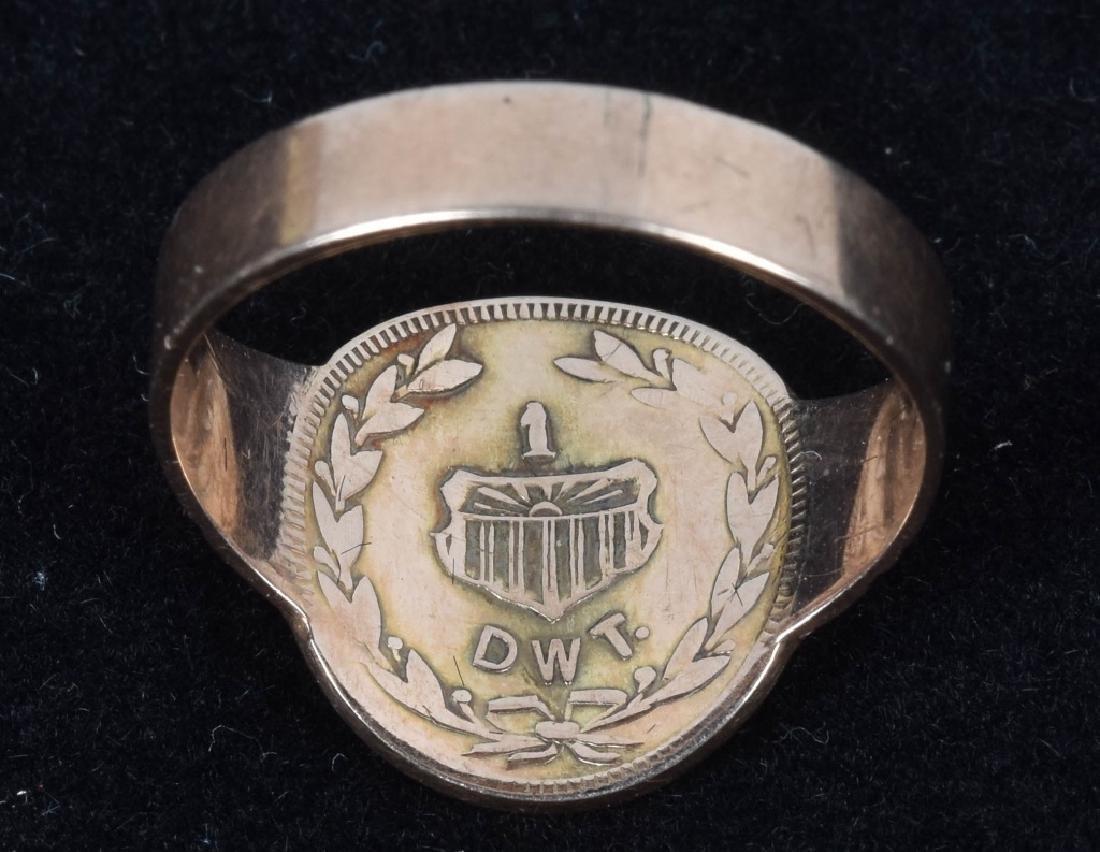 1909 ALASKAN 1 DWT GOLD RUSH COIN RING - 2