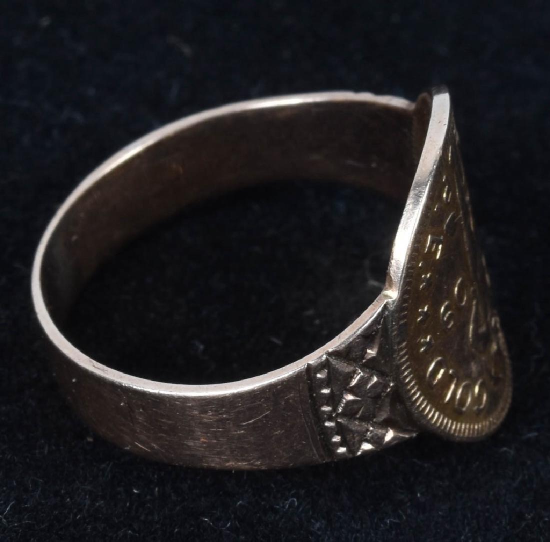 1909 ALASKAN 1 DWT GOLD RUSH COIN RING - 3