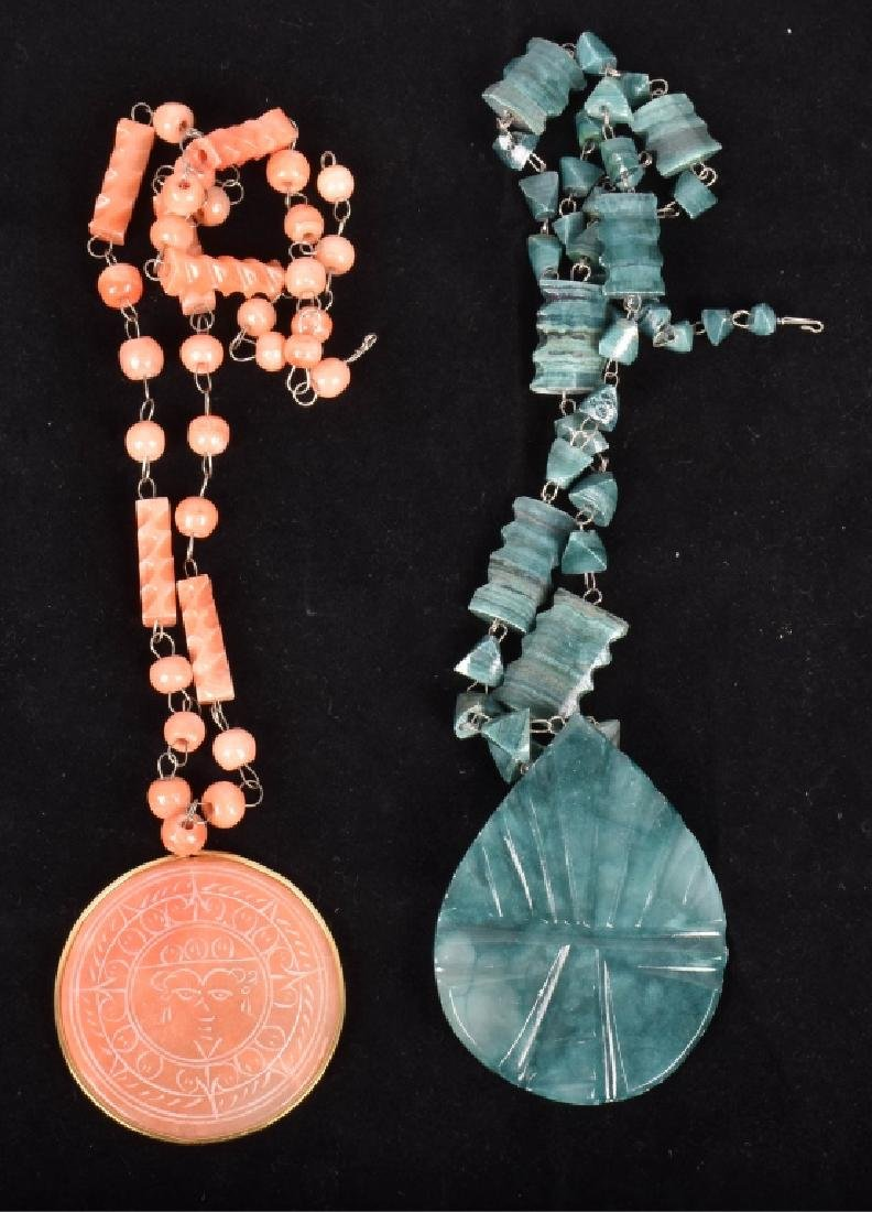 5pc lot of VINTAGE CORAL JADE and BONE? NECKLACES - 3