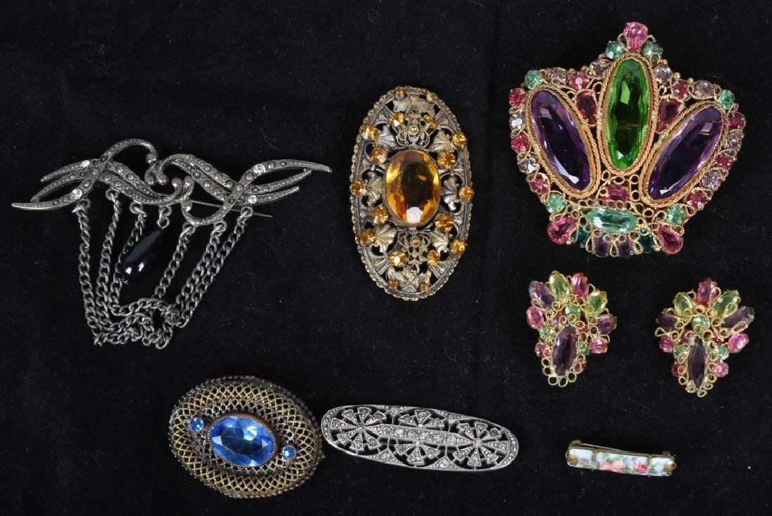 7pc LOT OF VICTORIAN COSTUME JEWELRY