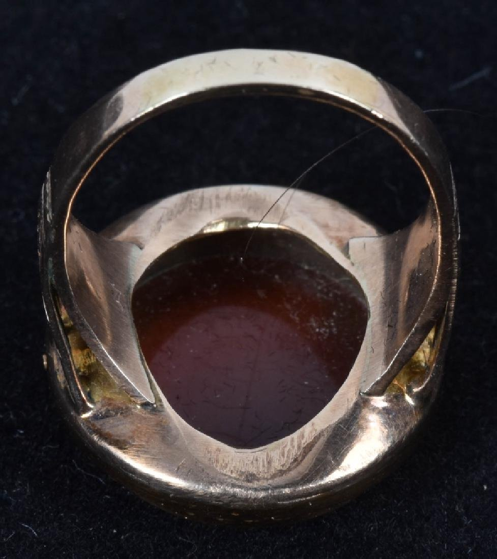 14kt GOLD VICTORIAN SARDONYX STONE CAMEO RING - 2