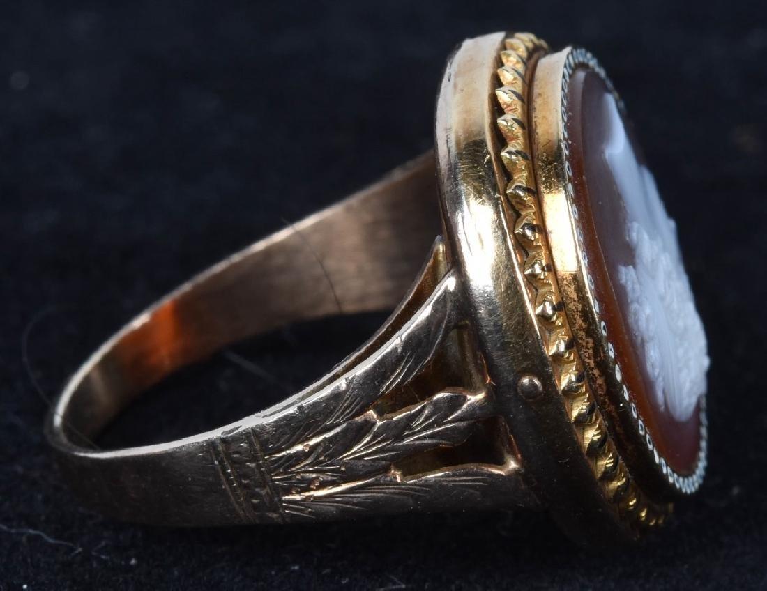 14kt GOLD VICTORIAN SARDONYX STONE CAMEO RING - 3