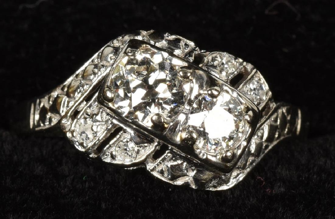 14kt WHITE GOLD OLD EURO CUT DIMOND RING 1ct total
