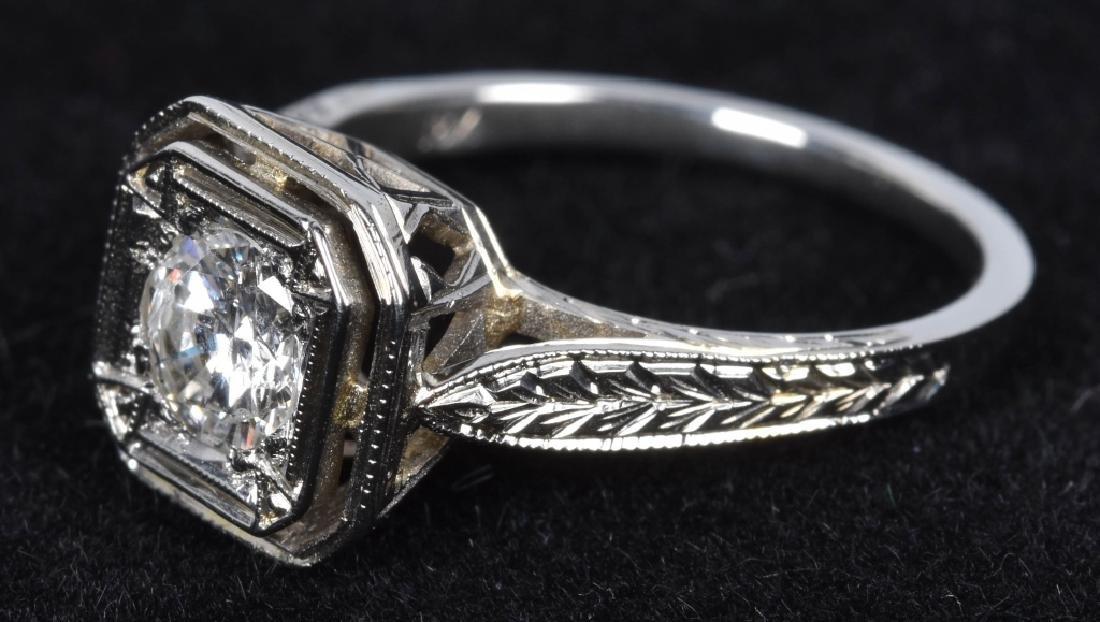 ART DECO STYLE 18kt GOLD DIAMOND ENGAGEMENT RING - 4