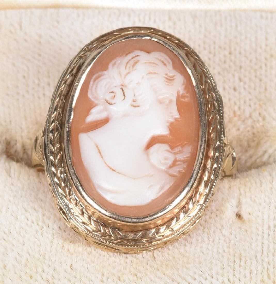 14kt GOLD VICTORIAN FILIGREE OVAL CAMEO RING