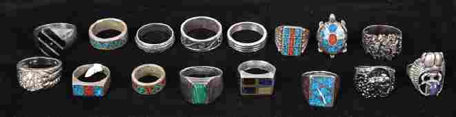 16 STERLING SILVER MENS  TURQUOISE RINGS