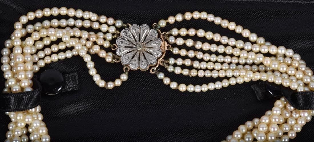 7 STRAND PEARL NECKLACE W/ 14KT GOLD CLASP - 2