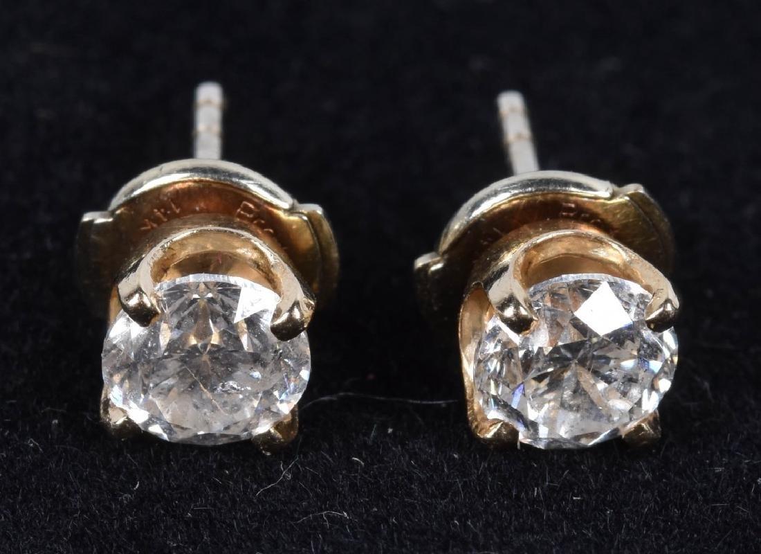 14kt 1.0 ct TCW PAIR OF DIAMOND EARRINGS