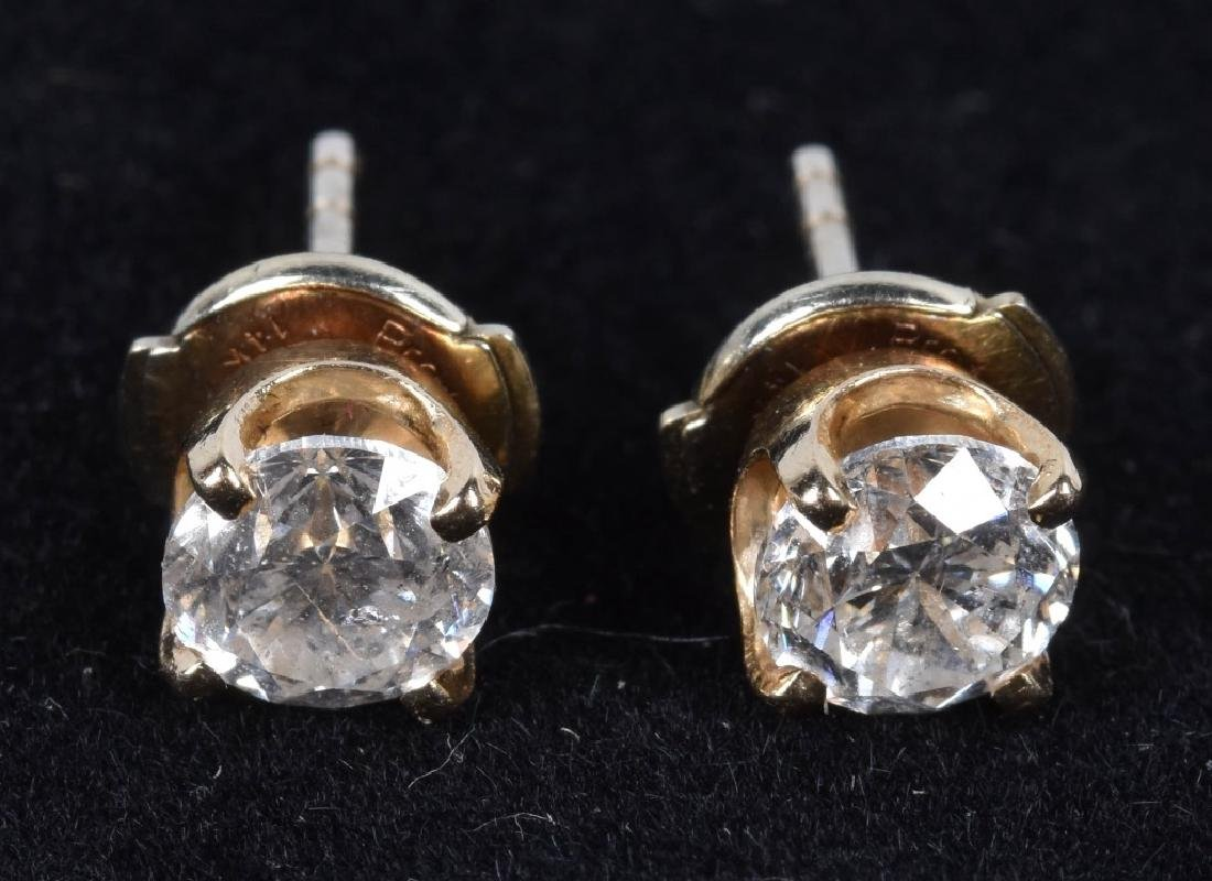 14kt 1.0 ct TCW PAIR OF DIAMOND EARRINGS