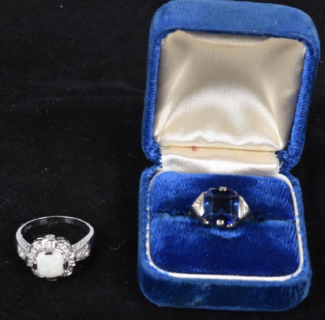 2- 10kt GOLD SAPPHIRE DIAMOND & OPAL RINGS