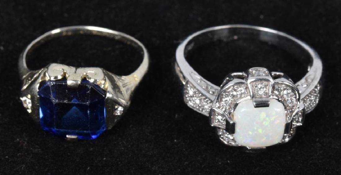 2- 10kt GOLD SAPPHIRE DIAMOND & OPAL RINGS - 2