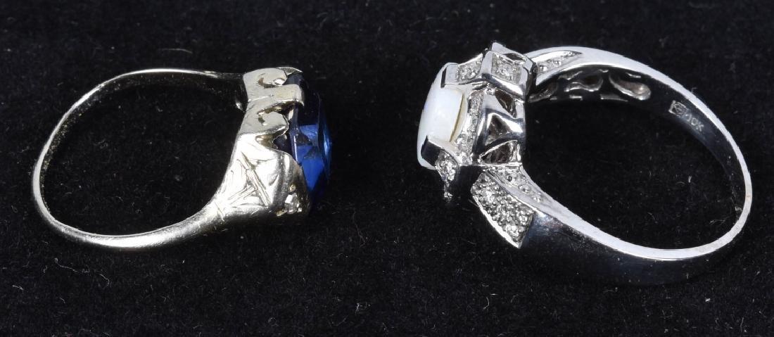 2- 10kt GOLD SAPPHIRE DIAMOND & OPAL RINGS - 3