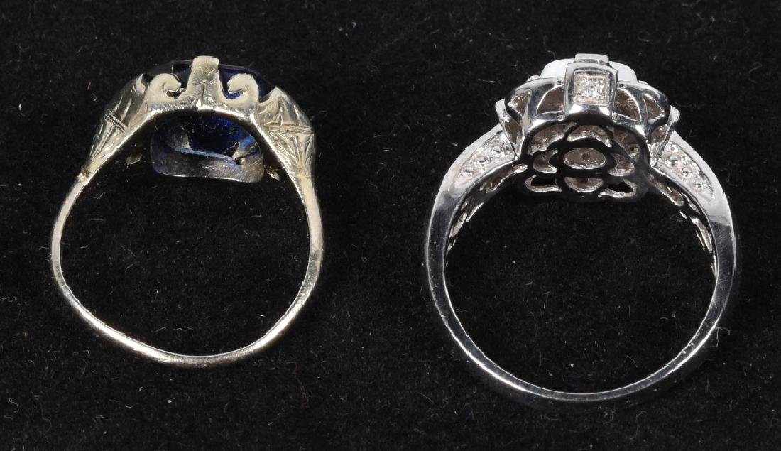 2- 10kt GOLD SAPPHIRE DIAMOND & OPAL RINGS - 4