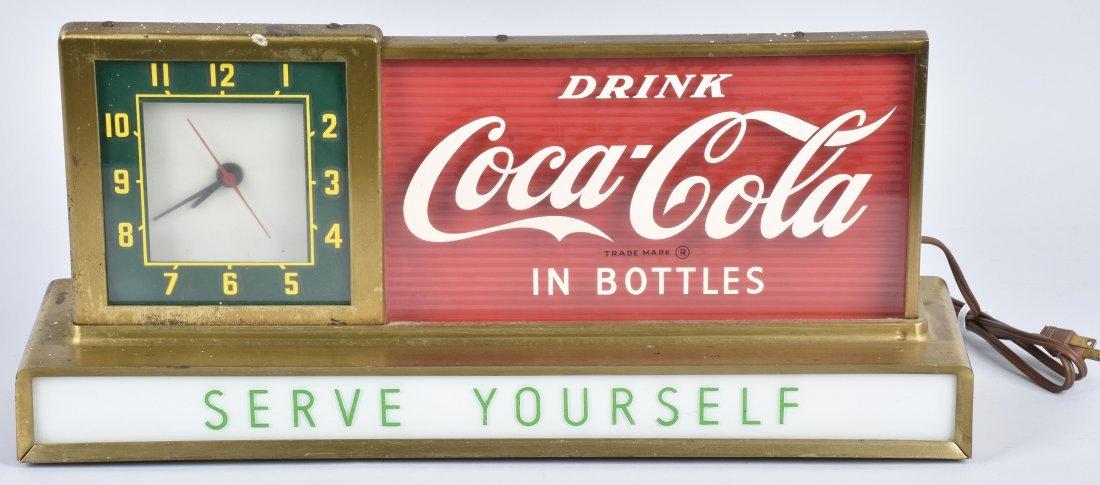 COCA COLA COUNTER ADVERTISING CLOCK, VINTAGE