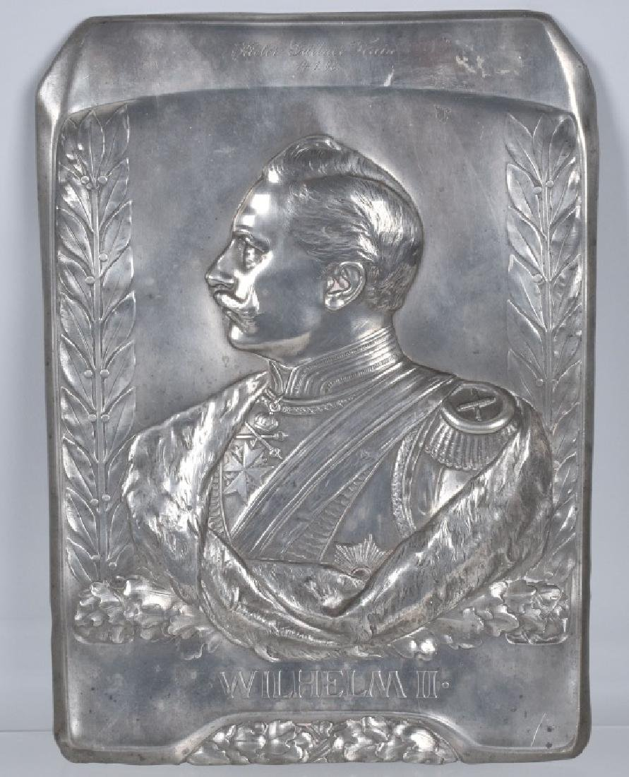 IMPERIAL GERMAN WILHELM II SILVER PLATED PLAQUE