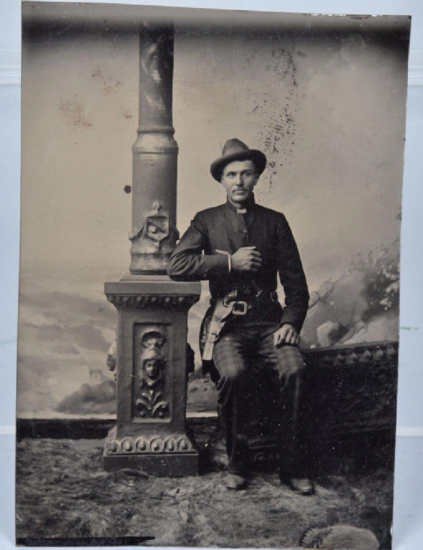 1870's TINTYPE of DOUBLE ARMED OUTLAW / COWBOY