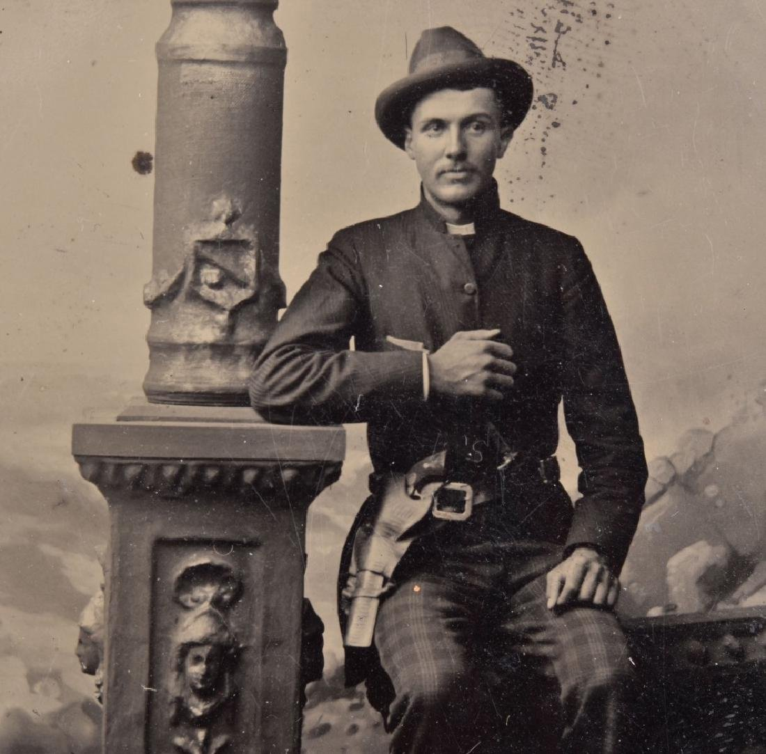 1870's TINTYPE of DOUBLE ARMED OUTLAW / COWBOY - 2