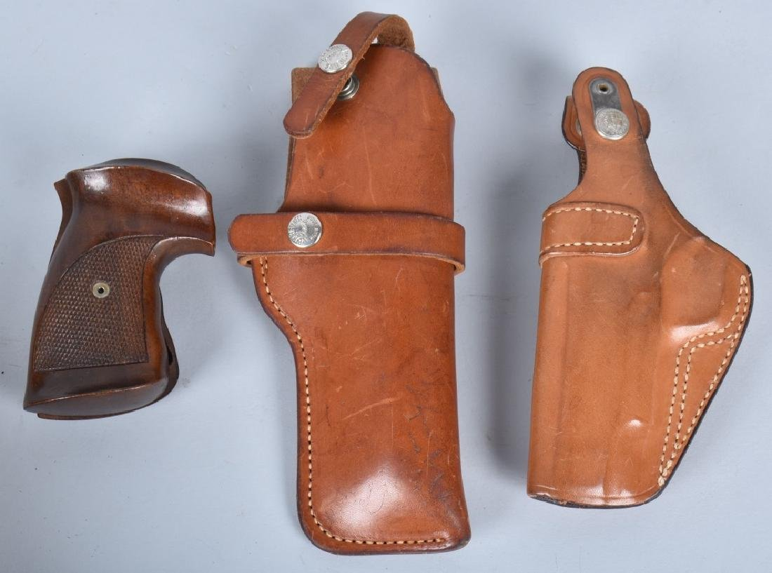 LOT 2 HOLSTERS and WOOD CHECKERED GRIPS