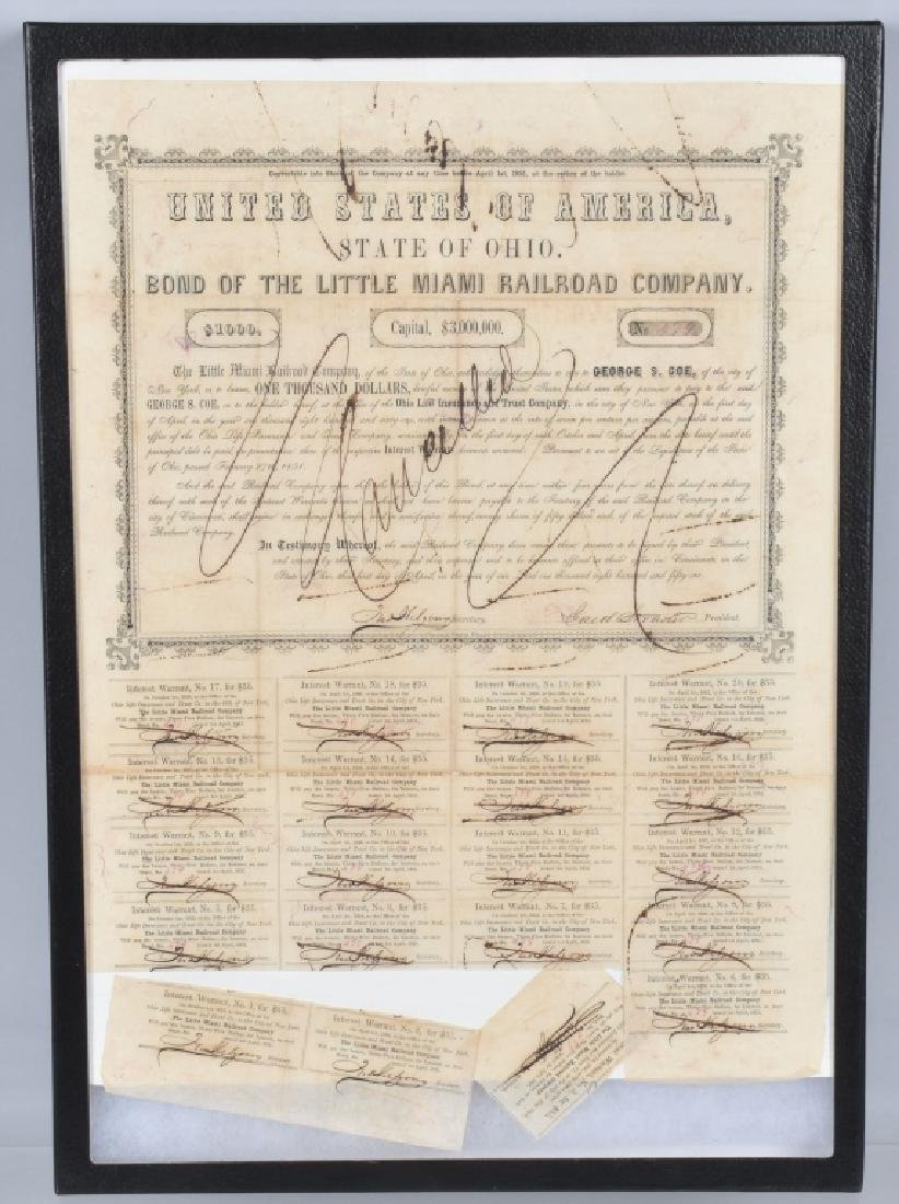 1851 LITTLE MIAMI RAILROAD $1000.00 BOND
