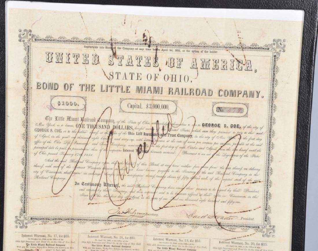 1851 LITTLE MIAMI RAILROAD $1000.00 BOND - 2