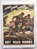 1942 WW2 ATTACK ATTACK ATTACK WAR BONDS POSTER