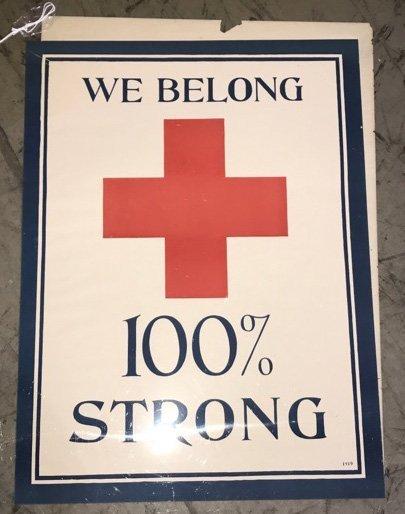 2- WW1 WE BELONG RED CROSS POSTERS