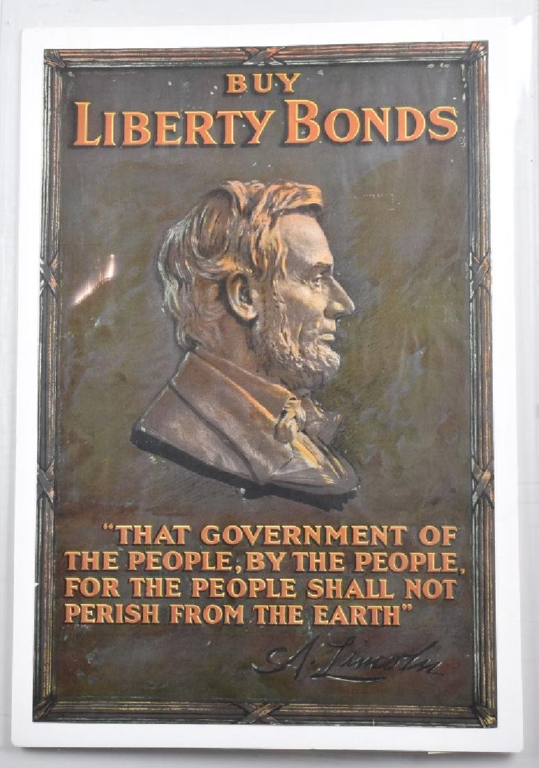 WWI BUY LIBERTY BONDS w/ ABRAHAM LINCOLN POSTER