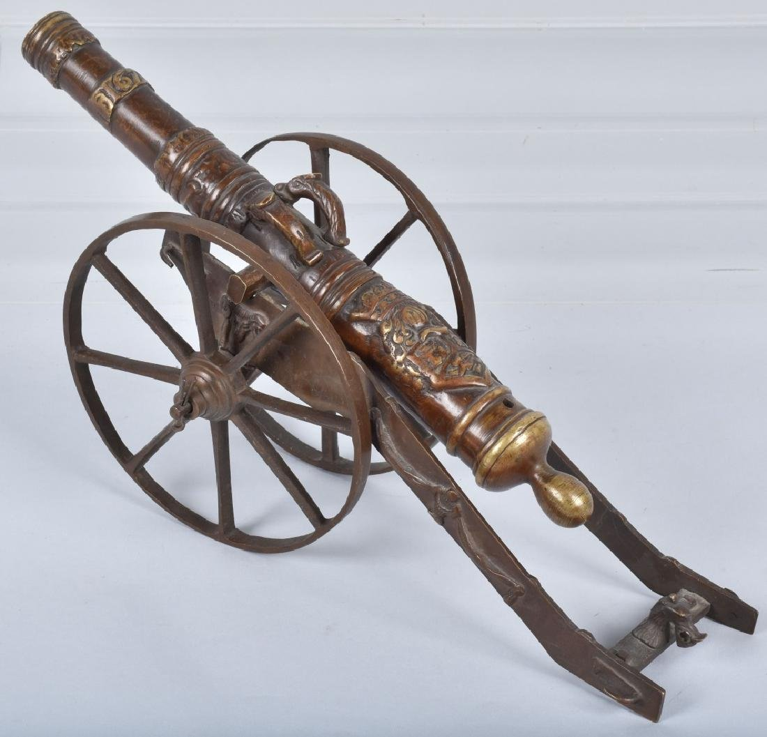 MINIATURE BRASS CANNON & CARRIAGE - 2
