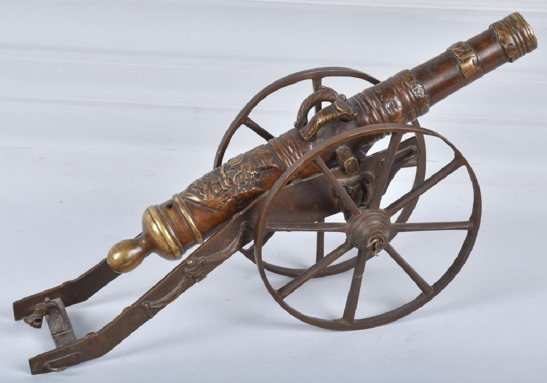 MINIATURE BRASS CANNON & CARRIAGE - 5