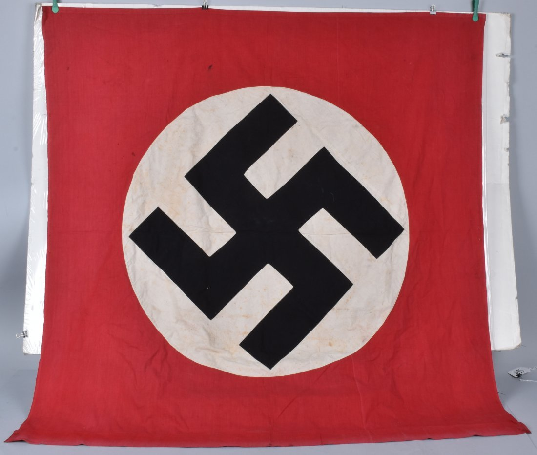 NAZI DOUBLE SIDED APPLIED SWASTIKA BANNER