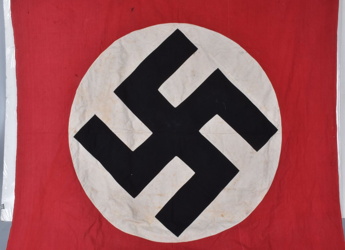 NAZI DOUBLE SIDED APPLIED SWASTIKA BANNER - 2