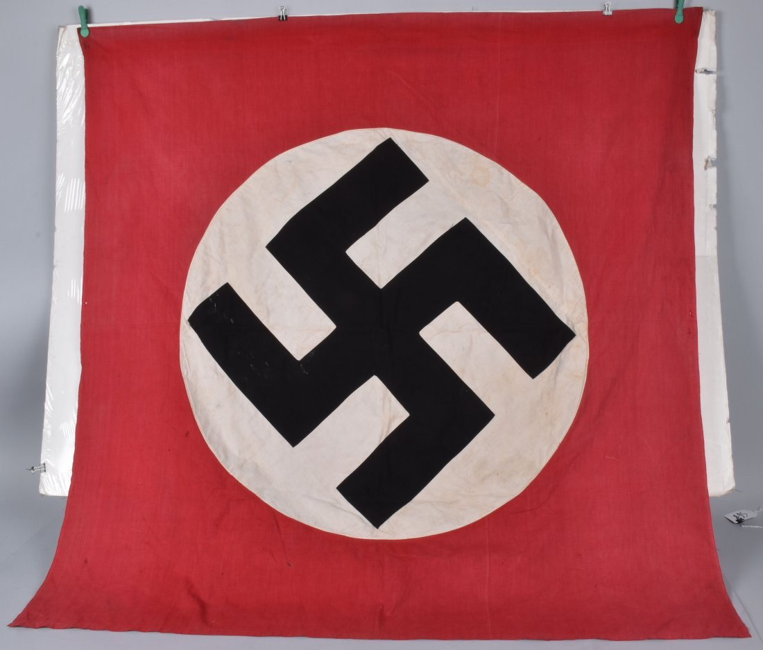NAZI DOUBLE SIDED APPLIED SWASTIKA BANNER - 4