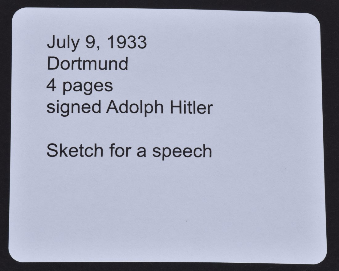 ADOLF HITLER SIGNED SKETCH FOR A SPEECH - 6