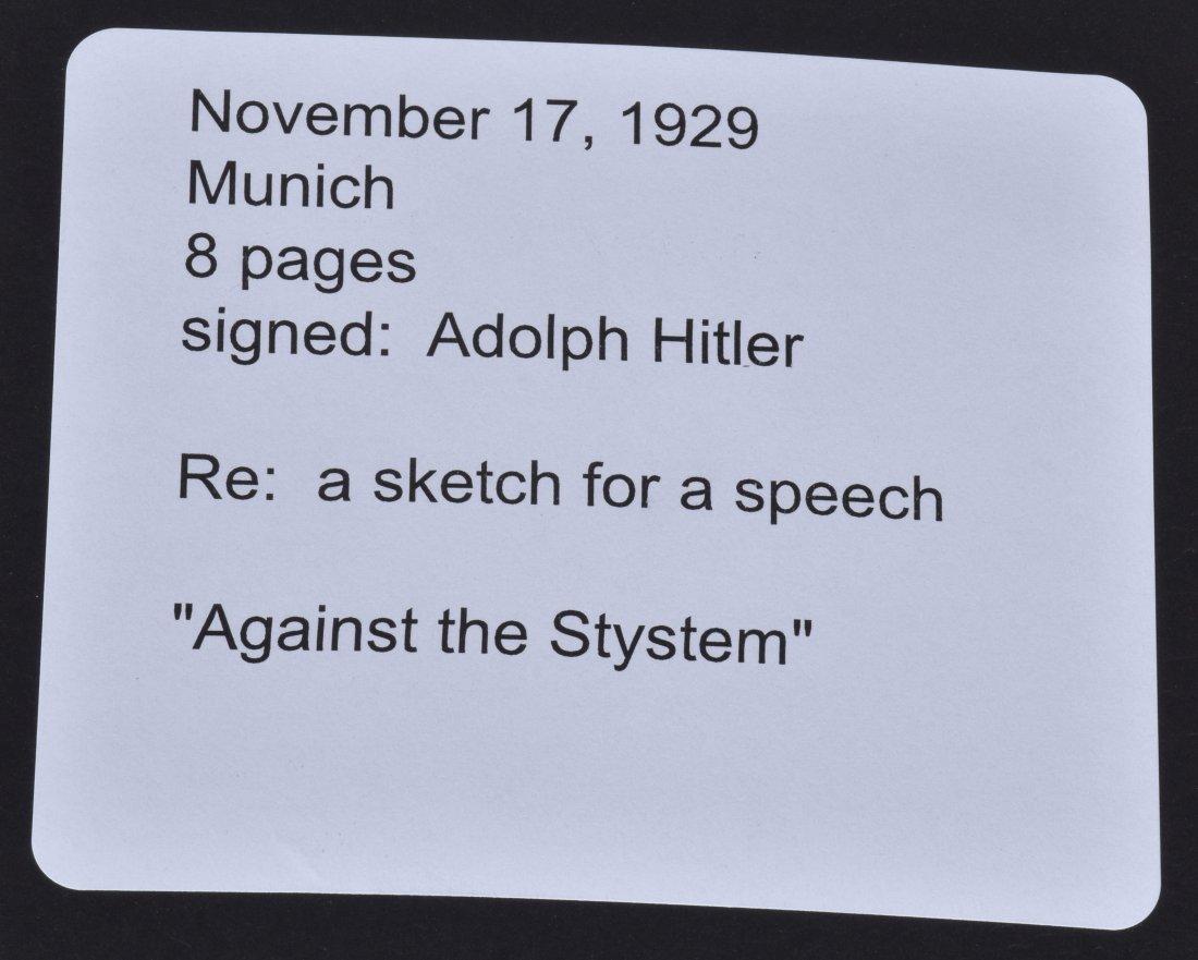 ADOLF HITLER SIGNED SKETCH FOR A SPEECH - 9