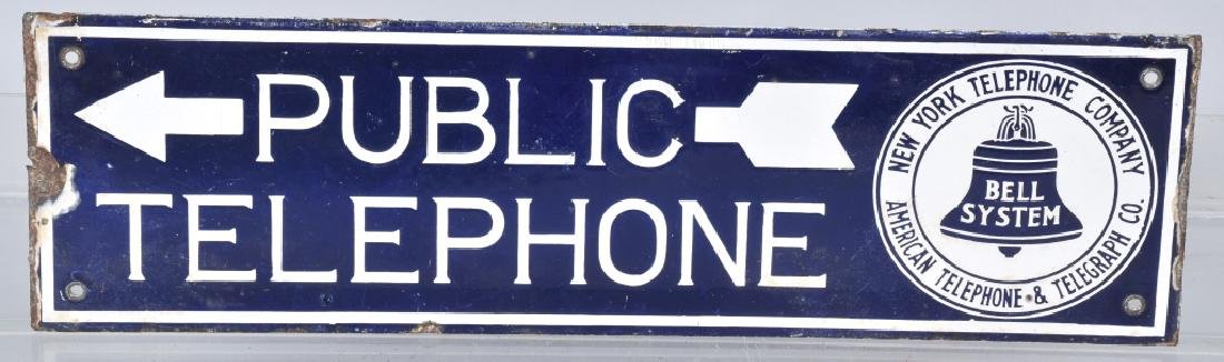 BELL PUBLIC TELEPHONE DS PORCELAIN SIGN