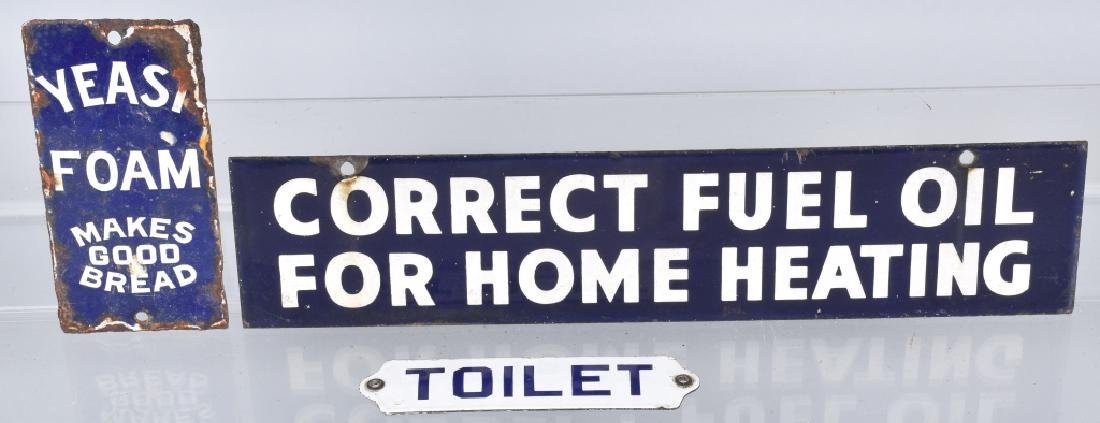 3- SMALL PORCELAIN SIGNS