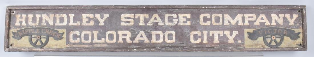 HUNDLEY STAGE COMPANY WOOF TRADE SIGN