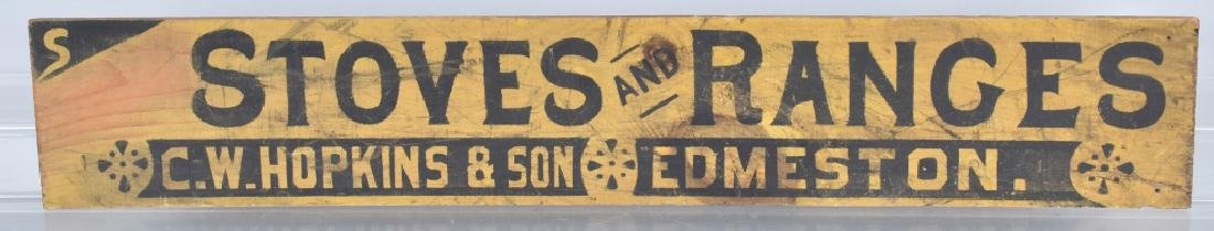1900s CW HOPKINS STOVE & RANGES WOOD TRADE SIGN