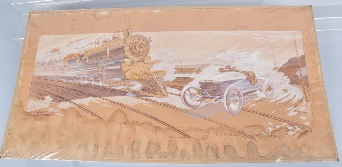 1910 MONTAUT FRENCH RACE CAR & TRAIN PRINT