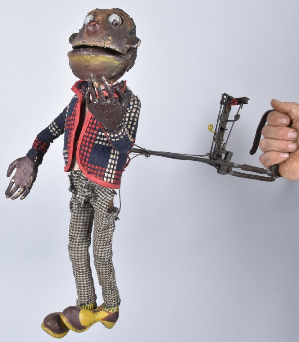 EARLY HAND CONTROLLED GLASS EYED NEGRO PUPPET