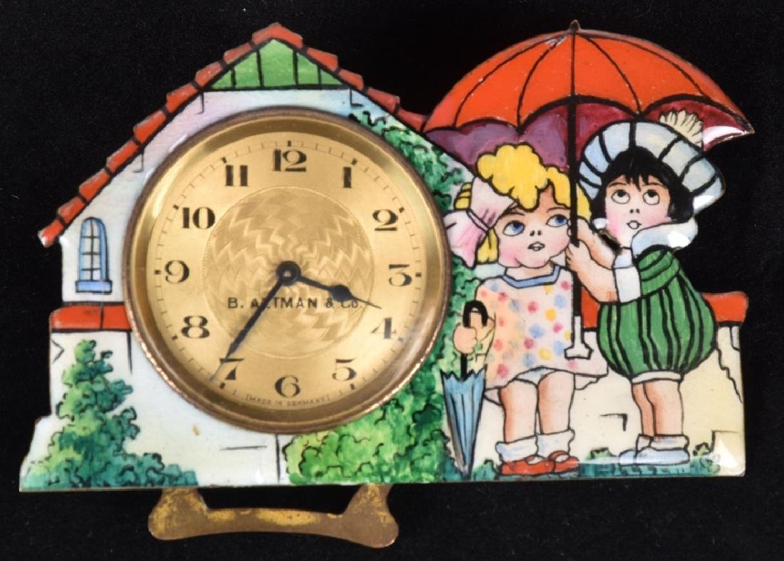 B ALTMAN GERMAN ENAMEL CLOCK w/ KIDS