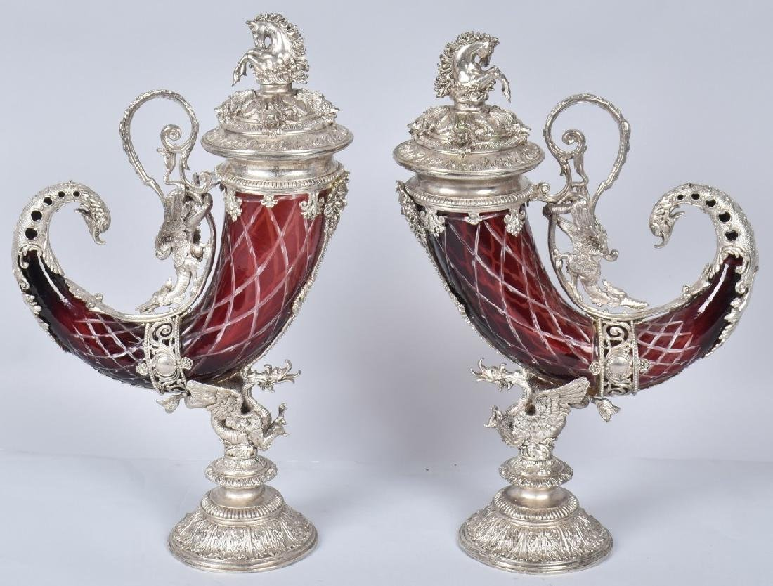 2- CUT CRANBERRY GLASS & SILVER HORN CHALICES