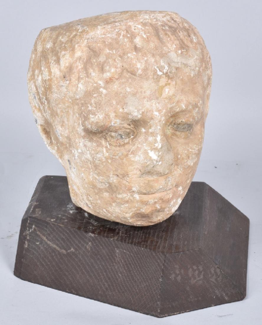 GREEK MARBLE HEAD OF A MAENAD