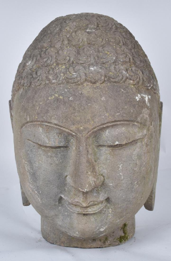 STONE CARVED BUDDAH BUST FROM TEMPLE