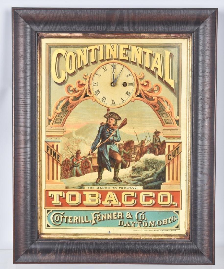CONTINENTAL TOBACCO TIN LITHO ADVERTISING CLOCK