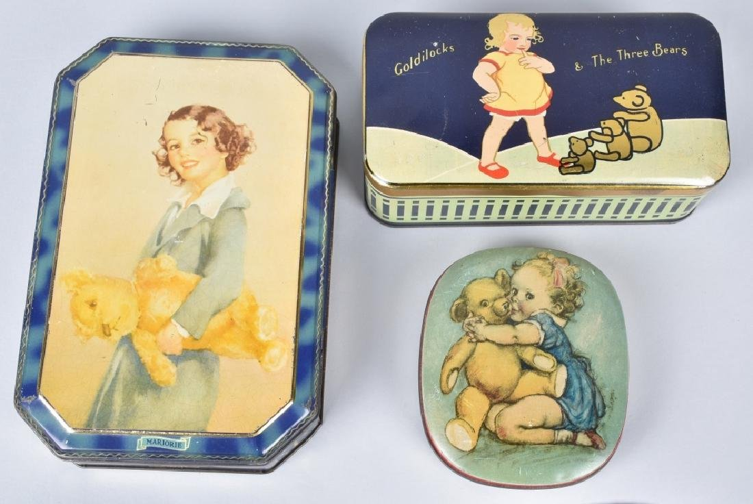3-1920's-30's TEDDY BEAR COOKIE & BISQUIT TINS