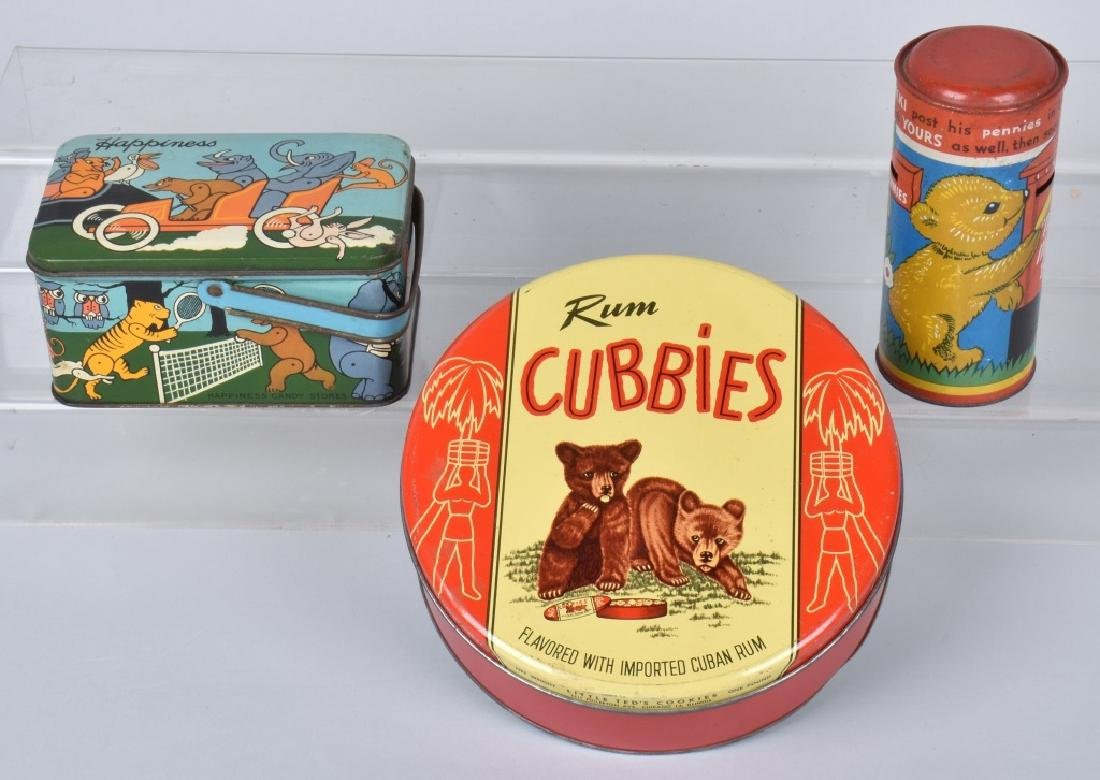 2 TEDDY BEAR TINS and TIN SAVINGS BANK